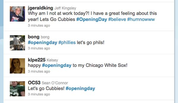 opening day tweets 2011 status update