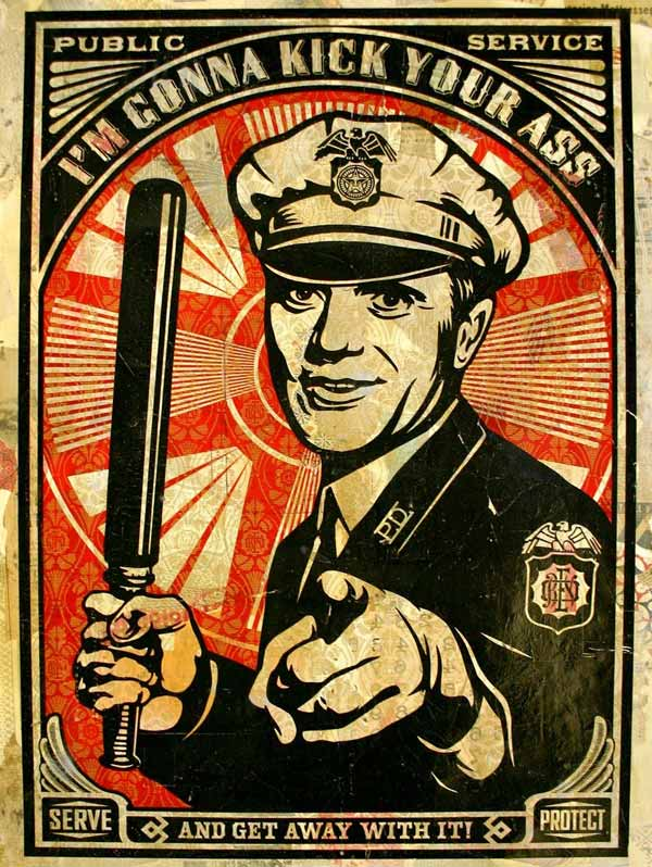 Shepard Fairey Rise Above Cop Copyright Poster Police